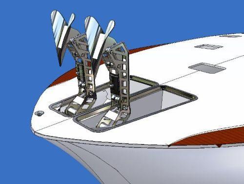 3D ontwerp en bewegingsimulatie, ankers worden opgeborgen