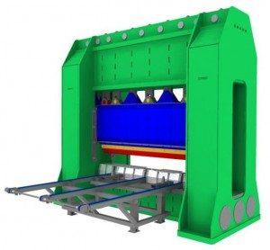 9 hydraulische cilinders van elk 30cm doorsnede, leveren totaal 1200 ton perskracht, welke nodig is om de stempelgangen te k