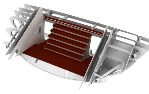 Engineering van een lazarett hatch met trap-opgang naar het achterdek.