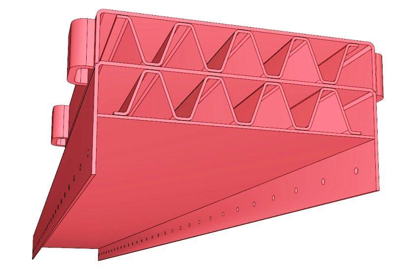 Het door Damhuis Holland BV - Utior bedacht speciaal trappezium profiel, in combinatie met de sluitplaten, vormen tezamen een sandwich constructie.