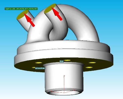 Hier een andere assembly waarop  de inklemmingen en uitwendige krachten zijn gedefinieerd  en het model gereed is voor een eerste sterkte analyse