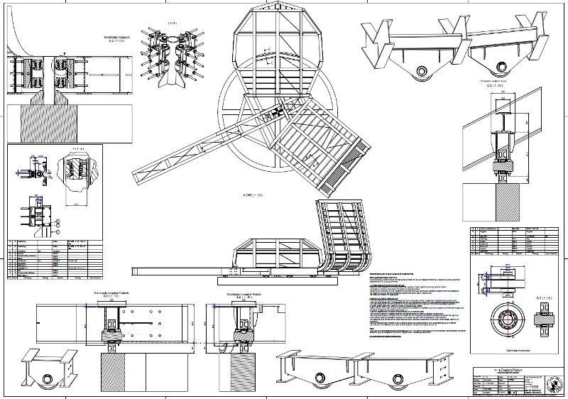 Technische tekening van de betreffende werktuigbouwkundige onderdelen die  moesten worden doorgerekend op sterkte en stijfheid.