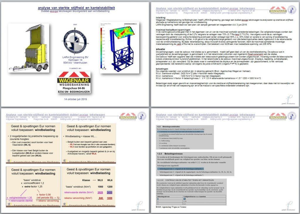 rapport FEM sterkteberekening tekstwagen pag 1 tm 4